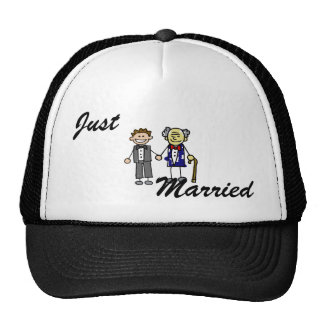 Young Old White Asian Gay Grooms Trucker Hat