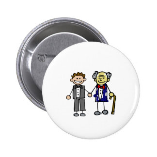 Young Old White Asian Gay Grooms Pinback Button
