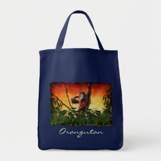 Young Orangutan & Jungle Sunrise Wildlife Tote Bag