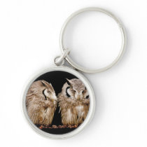 Young Owlets on Dark Background Keychain
