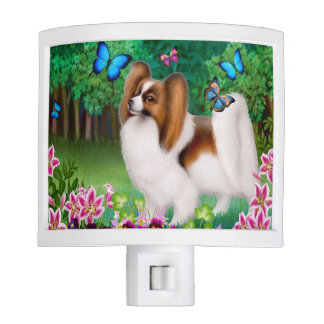 Young Papillon Dog with Butterflies Night Light