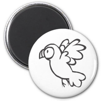 Young Parrot Flying in Black and White Sketch 2 Inch Round Magnet