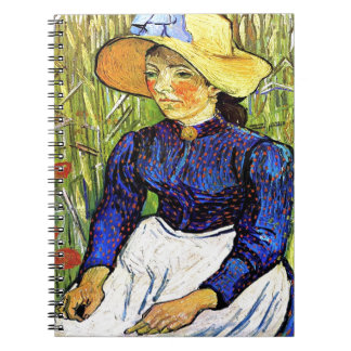 Young Peasant Girl by Vincent van Gogh 1890 Spiral Notebook