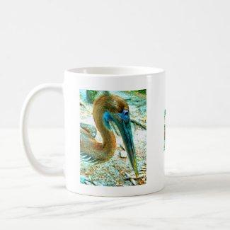 Young pelican head shot, high saturation color mug