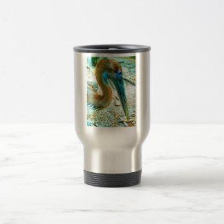 Young pelican head shot, high saturation color travel mug