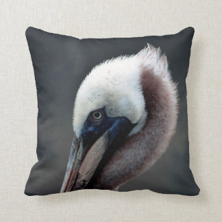 young pelican head view side bird throw pillow