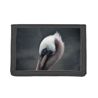 young pelican head view side bird trifold wallets