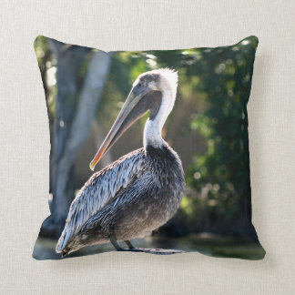 young pelican on stump wild bird photograph throw pillow