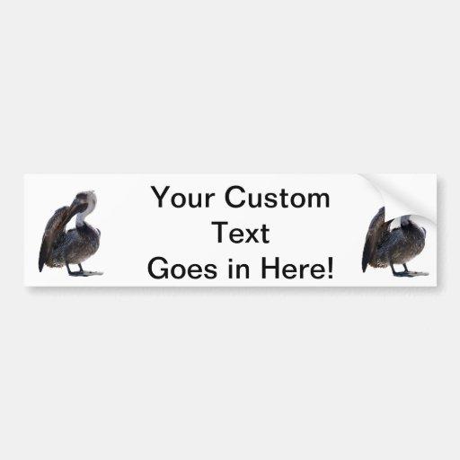 Young Pelican Preening cutout Bumper Sticker