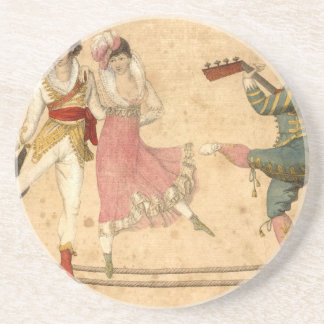 Young People Dancing and Singing, vintage drawing Coaster