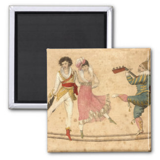 Young People Dancing and Singing, vintage drawing Magnet