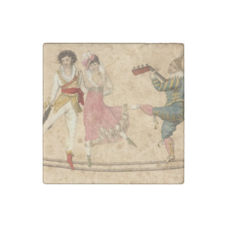 Young People Dancing and Singing, vintage drawing Stone Magnet