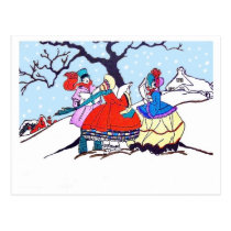 Young people singing Christmas songs on snow Postcard