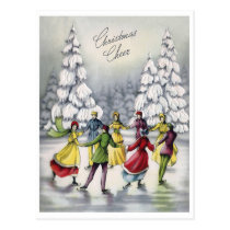Young people sliding on ice, Christmas cheer, Postcard