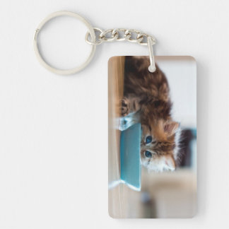 Young Persian kitten with blue eyes Double-Sided Rectangular Acrylic Keychain
