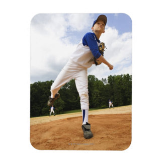 Young pitcher throwing baseball from mound rectangle magnets