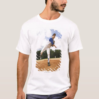 Young pitcher throwing baseball from mound T-Shirt