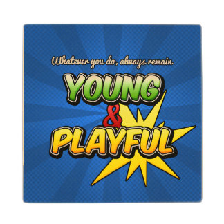 Young & Playful Wooden Coaster