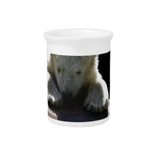 young polar bear on a log beverage pitcher