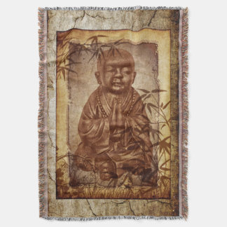 young praying Buddhism Monk - antique style Throw Blanket