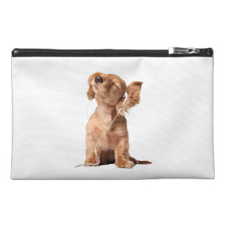 Young Puppy Listening to Music on Headphones Travel Accessories Bag