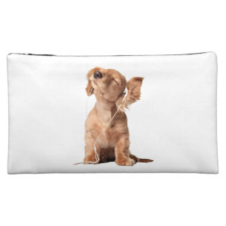 Young Puppy Listening to Music on Headphones Cosmetics Bags