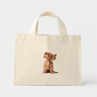 Young Puppy Listening to Music on Headphones Mini Tote Bag