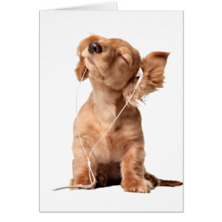 Young Puppy Listening to Music on Headphones Card