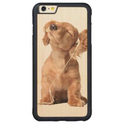 Young Puppy Listening to Music on Headphones Carved® Maple iPhone 6 Plus Bumper Case