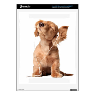Young Puppy Listening to Music on Headphones Decal For Xbox 360