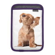 Young Puppy Listening to Music on Headphones iPad Mini Sleeve at Zazzle