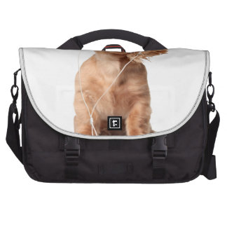 Young Puppy Listening to Music on Headphones Commuter Bags