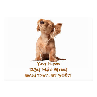 Young Puppy Listening to Music on Headphones Large Business Card