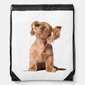 Young Puppy Listening to Music on Headphones Drawstring Bag