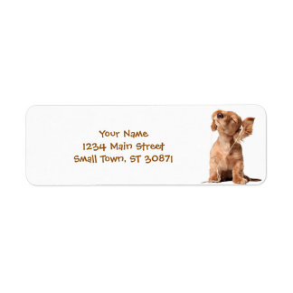 Young Puppy Listening to Music on Headphones Return Address Label