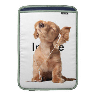 Young Puppy Listening to Music on Headphones Sleeve For MacBook Air