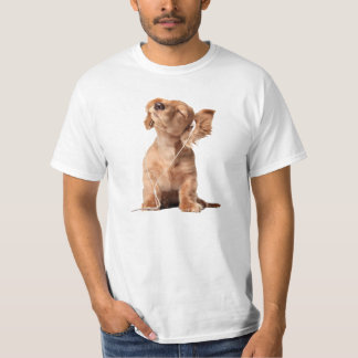 Young Puppy Listening to Music on Headphones T-Shirt