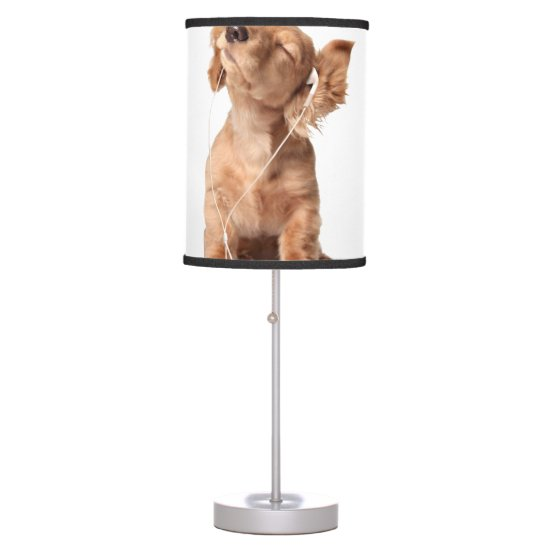 Young Puppy Listening to Music on Headphones Table Lamp
