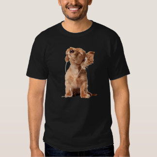 Young Puppy Listening to Music on Headphones Tee Shirt