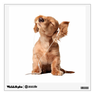 Young Puppy Listening to Music on Headphones Wall Sticker