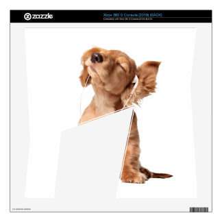 Young Puppy Listening to Music on Headphones Xbox 360 S Skin