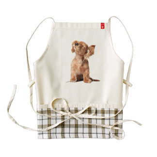 Young Puppy Listening to Music on Headphones Zazzle HEART Apron