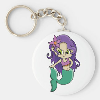 Young Purple Haired Mermaid with Big Green Eyes Keychain