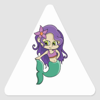 Young Purple Haired Mermaid with Big Green Eyes Triangle Sticker