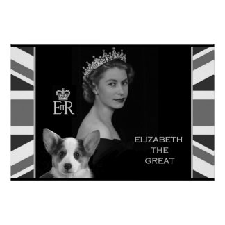Young Queen Elizabeth II and her Corgi Puppy Poster