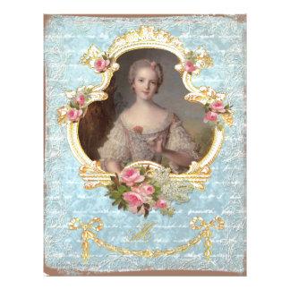 Young Queen Marie Antoinette Pink Roses Art Print Flyer