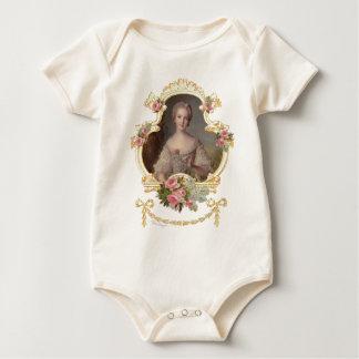 Young Queen Marie Antoinette Pink Roses Baby Bodysuit