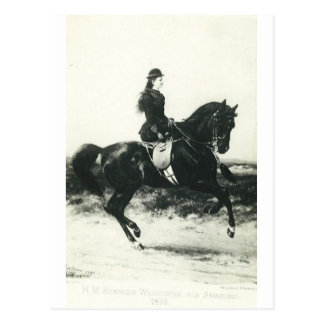 Young queen riding horse sidesaddle #010SS Postcard