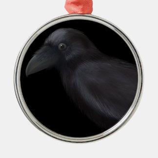 Young Raven Metal Ornament