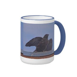 Young Raven on Quesnel Bridge w Sky Ringer Mug